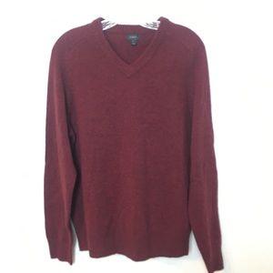 J crew burgundy lamb wool v neck sweater